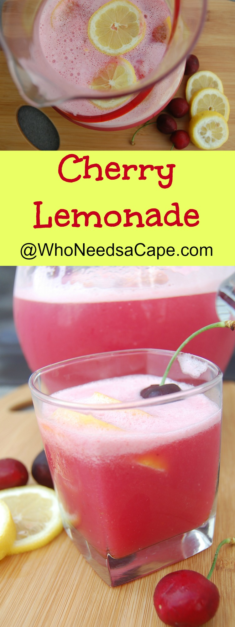 Cherry Lemonade is the perfect summer drink! Everyone at your next BBQ will LOVE it! It's a snap to make (let your blender do the work!)