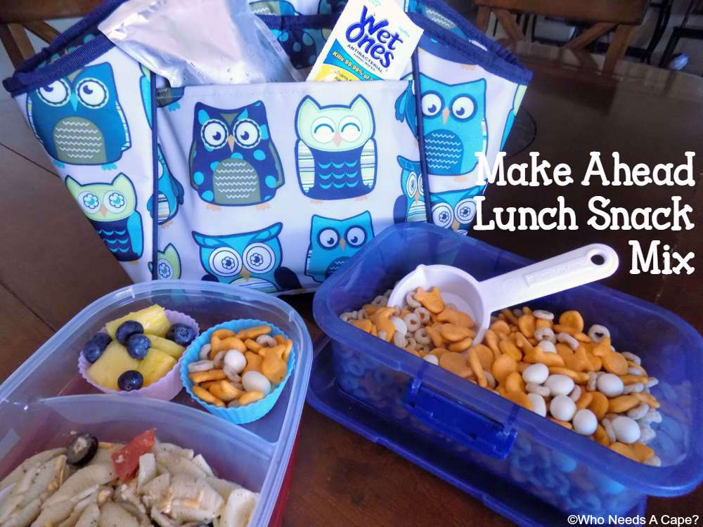Back to school lunches are made so simple with this Make Ahead Lunch Snack Mix. Make it on the weekend and you'll have plenty for the school week.