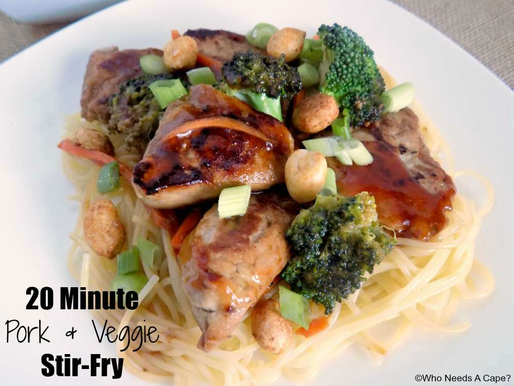 You'll have dinner on the table fast with this 20 Minute Pork & Veggie Stir-Fry. Perfect for busy weeknights, it'll be a family favorite that's so simple.