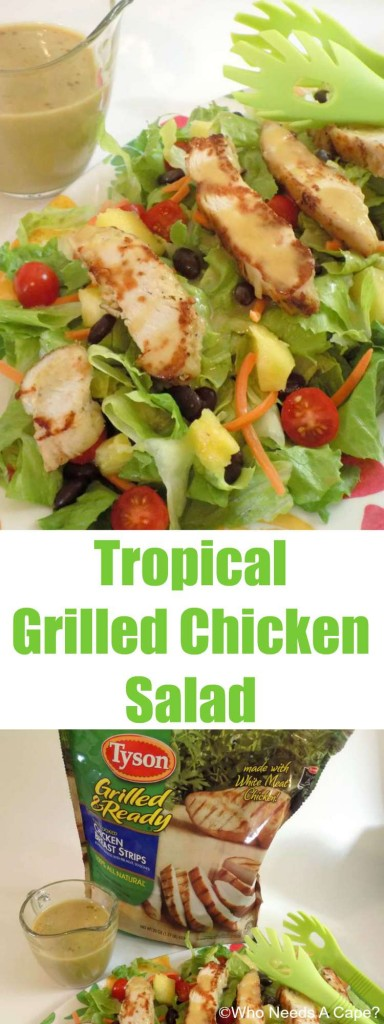 This Tropical Grilled Chicken Salad is delicious and easy to make! With veggies, fruit, beans & a tangy dressing, this is a great meal.