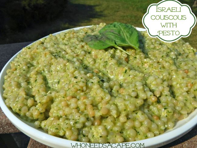 Israeli Couscous with Pesto - Who Needs A Cape?