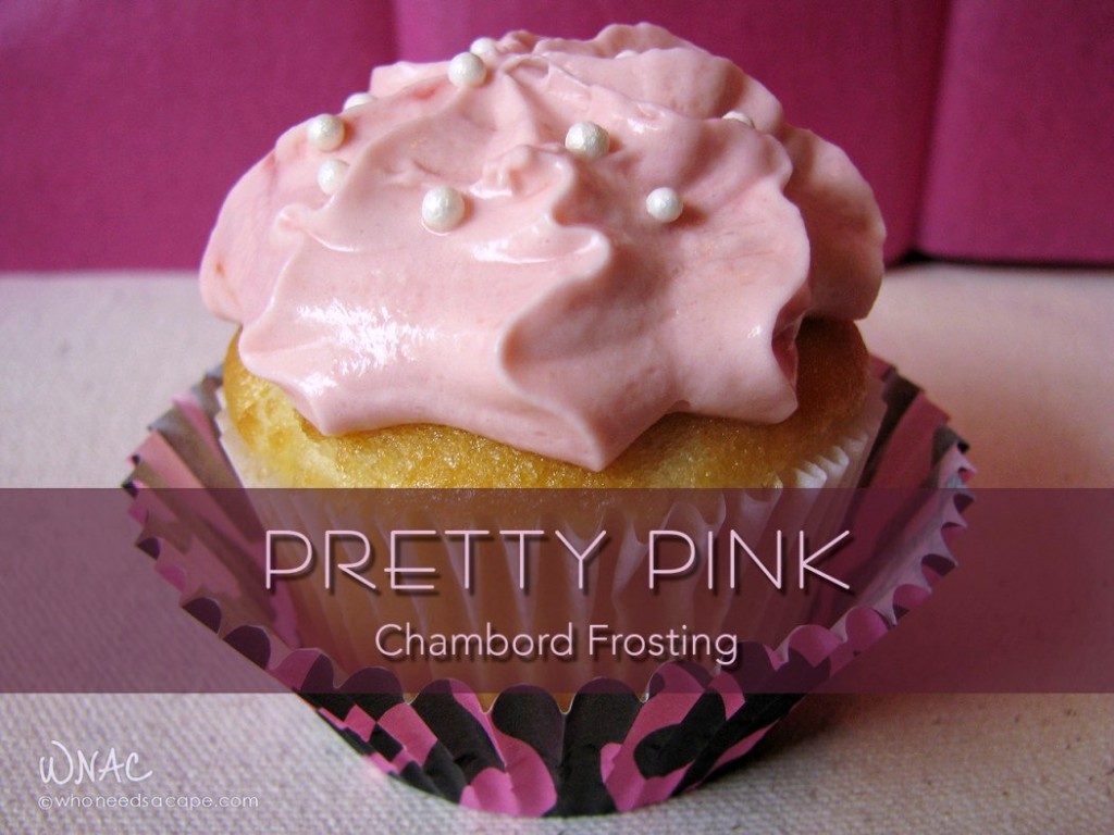 Pretty Pink Chambord Frosting ~ Who says pretty pink frosting is only for little girls? Booze up your cupcakes for your next grown-up girly gathering!