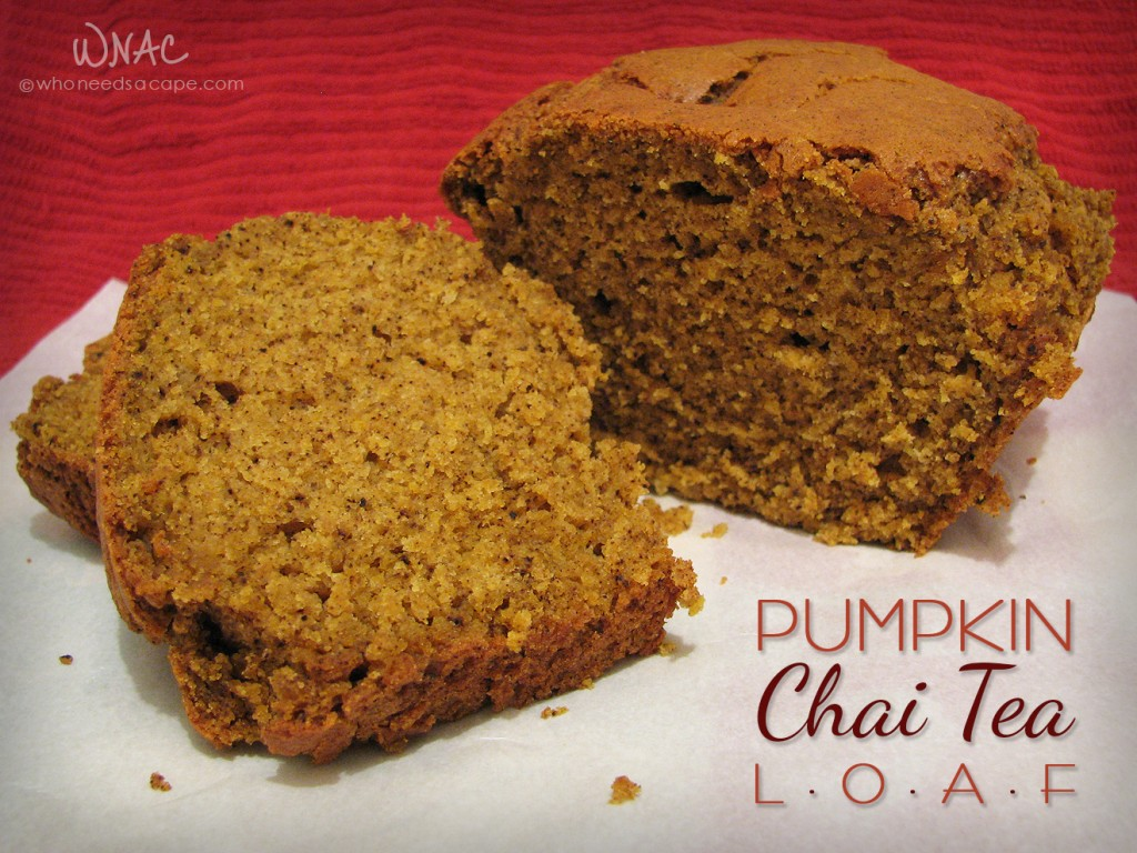 Pumpkin Chai Tea Loaf ~ If you love all things pumpkin and enjoy your chai tea latte, here's a great marriage of flavors sure to please those fall cravings!