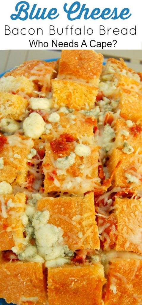 Blue Cheese Bacon Buffalo Bread is a perfect app for just about any occasion - whether it's football, happy hour, parties, you can make this in a snap!