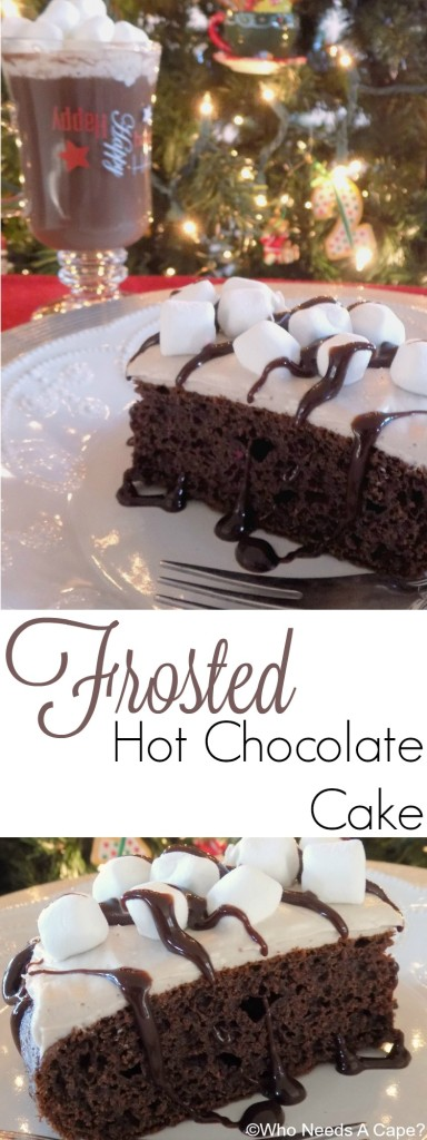 Chocolate lovers this one is for you! Frosted Hot Chocolate Cake has hot chocolate incorporated into both the cake and frosting, such a delicious dessert.