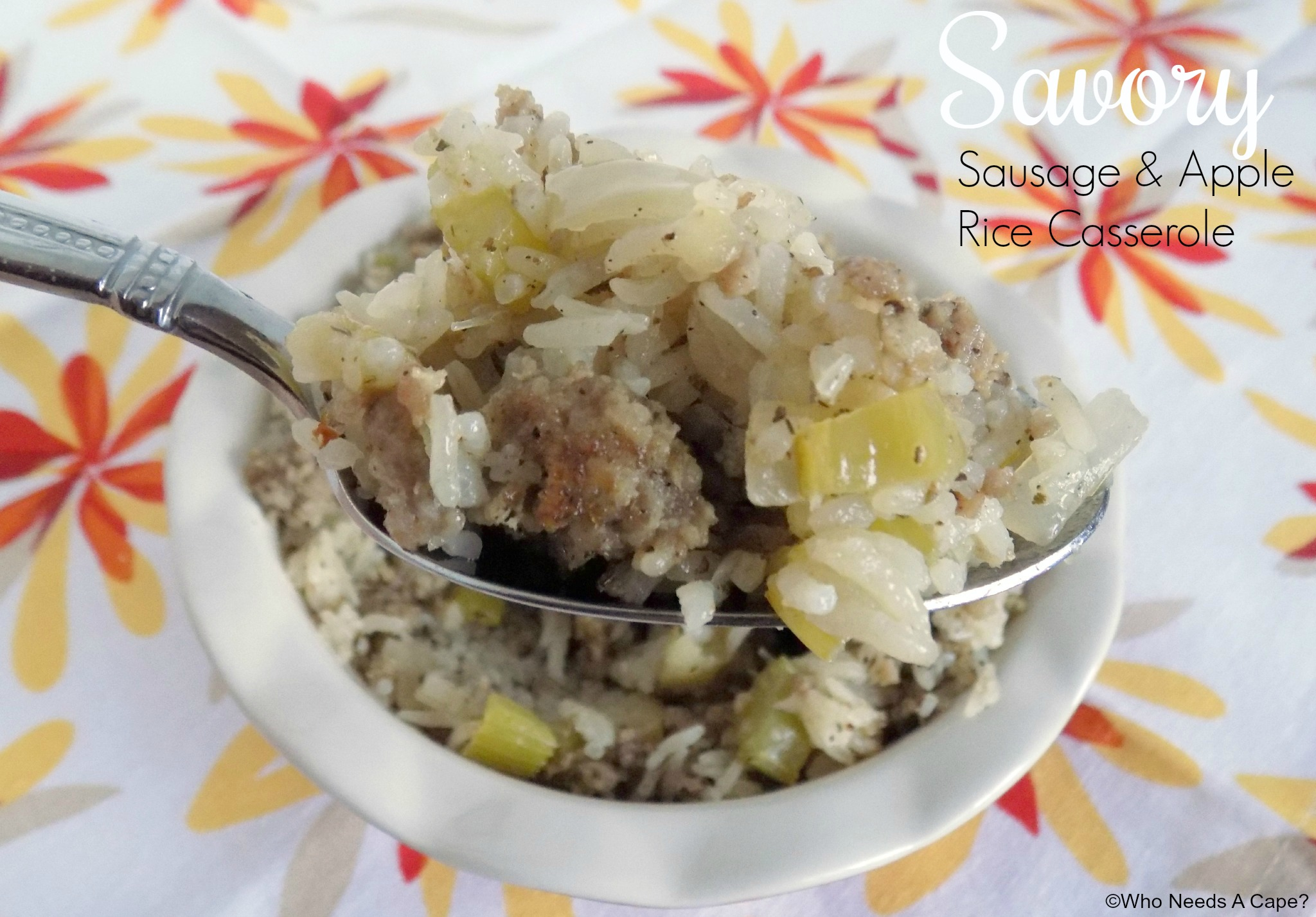 Serve this Savory Sausage and Apple Rice Casserole with your holiday meals. Delicious alternative to traditional stuffing, is easy to prepare and so good.