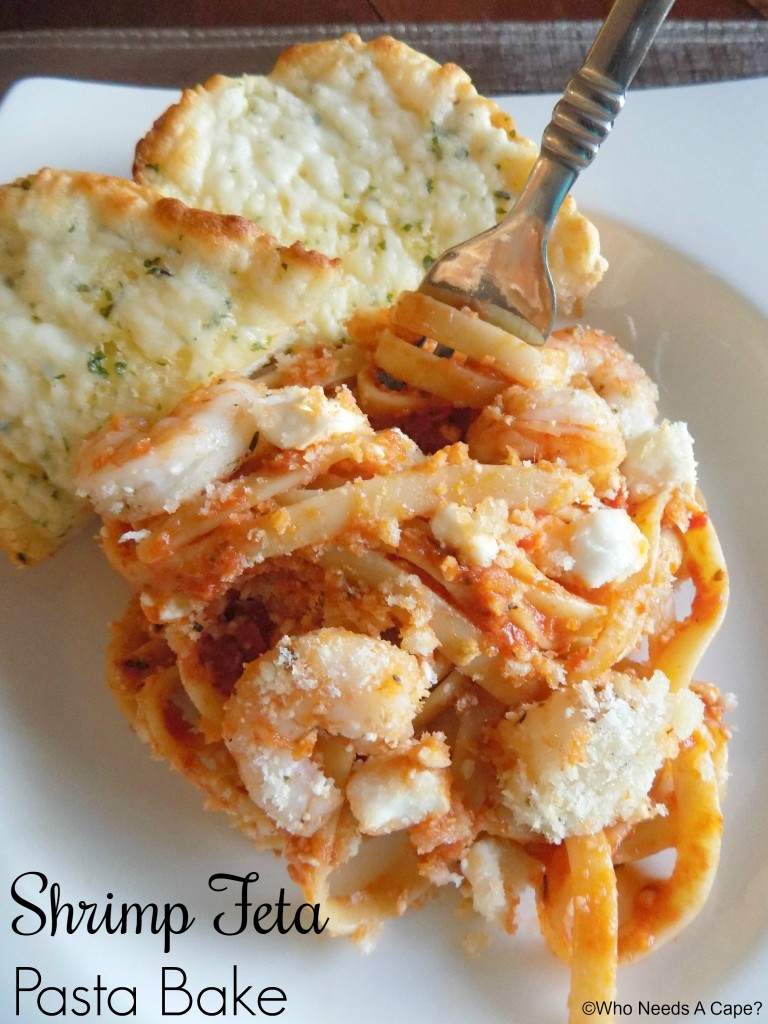 Wonderful flavors blend together in this simple Shrimp Feta Pasta Bake. Sauce, pasta, shrimp, cheese all baked together with a crunch topping. So yummy!