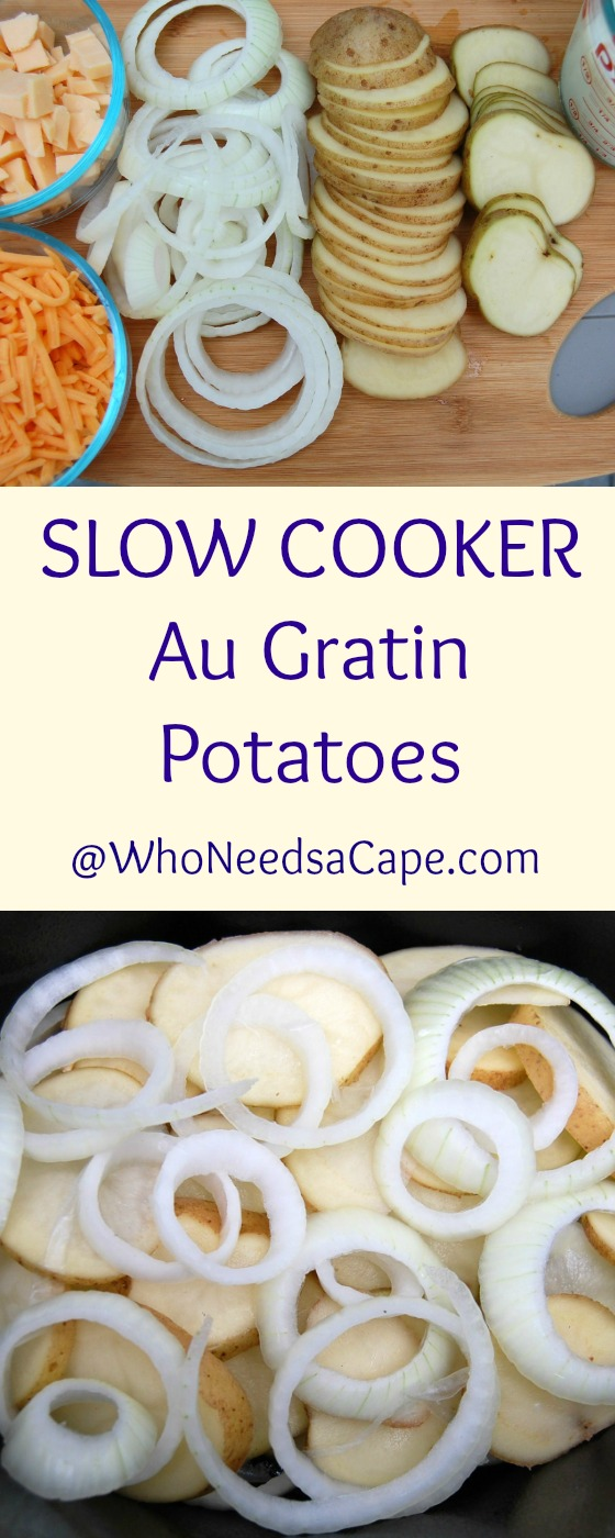 Slow Cooker Au Gratin Potatoes - just what you need for every holiday meal. Easy and it cooks while you're doing other things - tastes amazing!