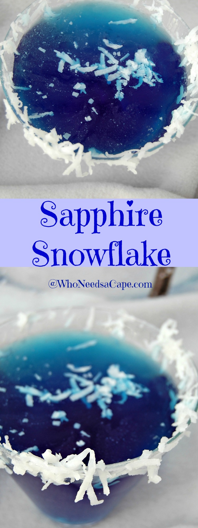 The Sapphire Snowflake Martini will take you away to a tropical paradise! Leave winter behind with this delicious cocktail!