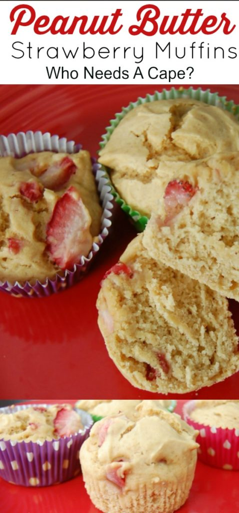 Using Jif Peanut Powder these Peanut Butter Strawberry Muffins are like a better for you Peanut Butter and Jelly! You're going to LOVE these muffins!