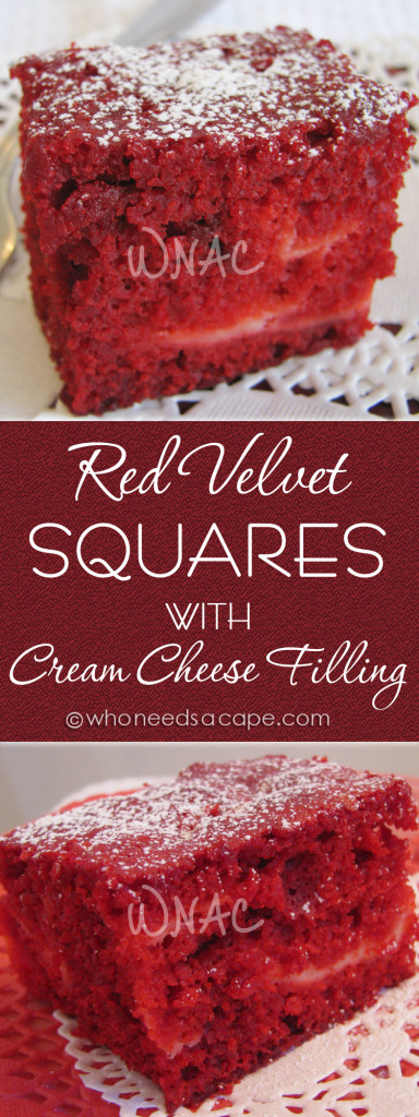 Perfect for the holidays, Red Velvet Squares with Cream Cheese Filling. This cake will wow your guests. Great with some fresh whipped cream!