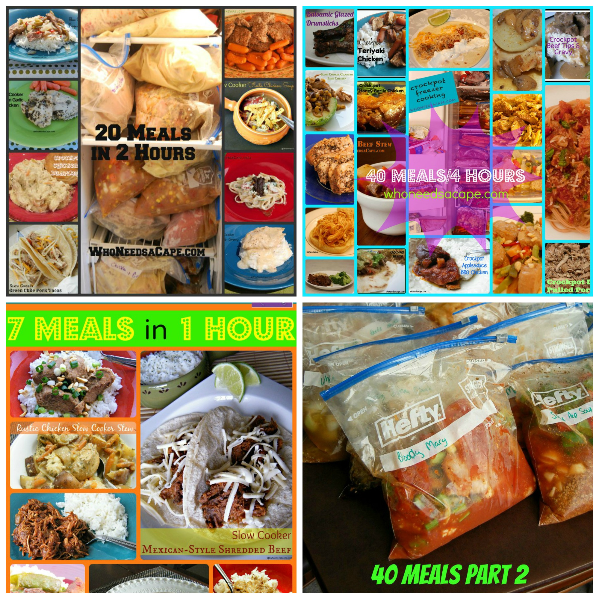 5 Different Freezer Meal Sets! 7 Meals, 20 Meals, 30 Meals and 2 separate 40 meals sets. All you need for a year of slow cooking