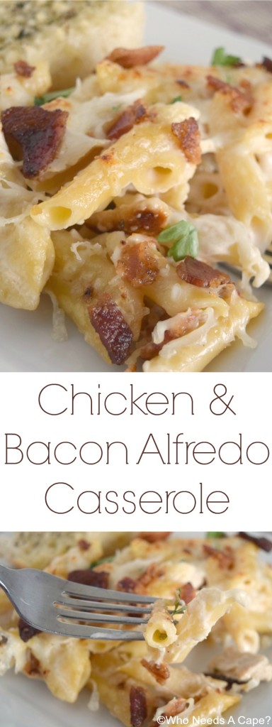 Chicken & Bacon Alfredo Casserole, a wonderfully comforting dish that has layers of Alfredo goodness. Comfort food at its best in this easy meal.