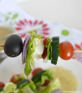Make these delicious Deconstructed Greek Salad Sticks for your next party. All your favorite ingredients in bite-sized portions.
