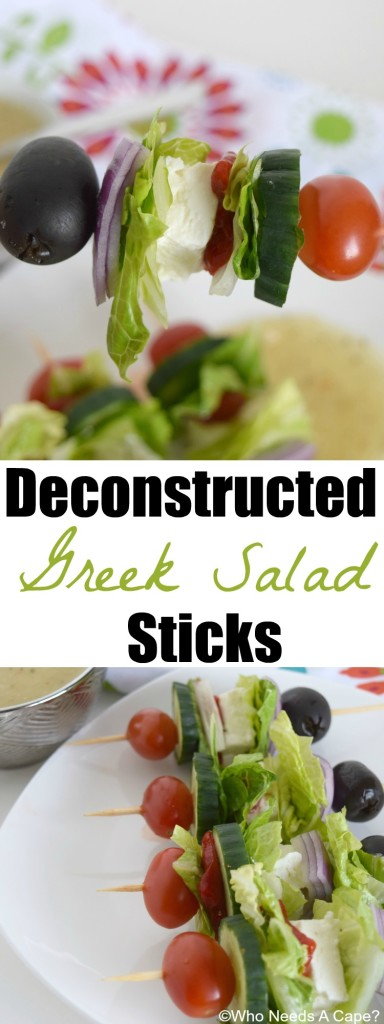 Make these delicious Deconstructed Greek Salad Sticks for your next party. All your favorite ingredients in bite-sized portions. | Who Needs A Cape? |