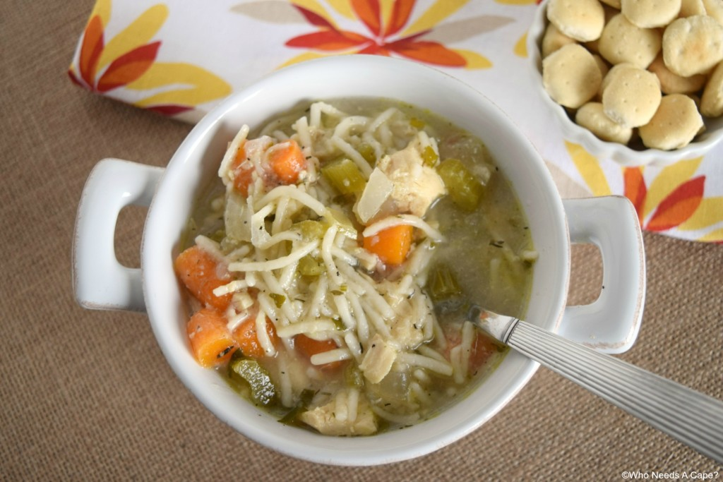 Have a bowl of this Homestyle Chicken Noodle Soup, straight from your slow cooker. Comforting and warm, a great dinner that you'll love.