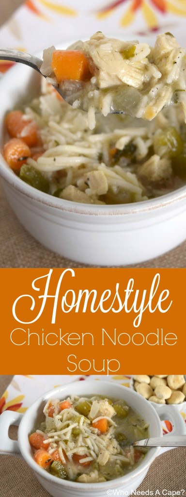 Have a bowl of this Homestyle Slow Cooker Chicken Noodle Soup, straight from your crockpot. Comforting and warm, a great dinner that you'll love.
