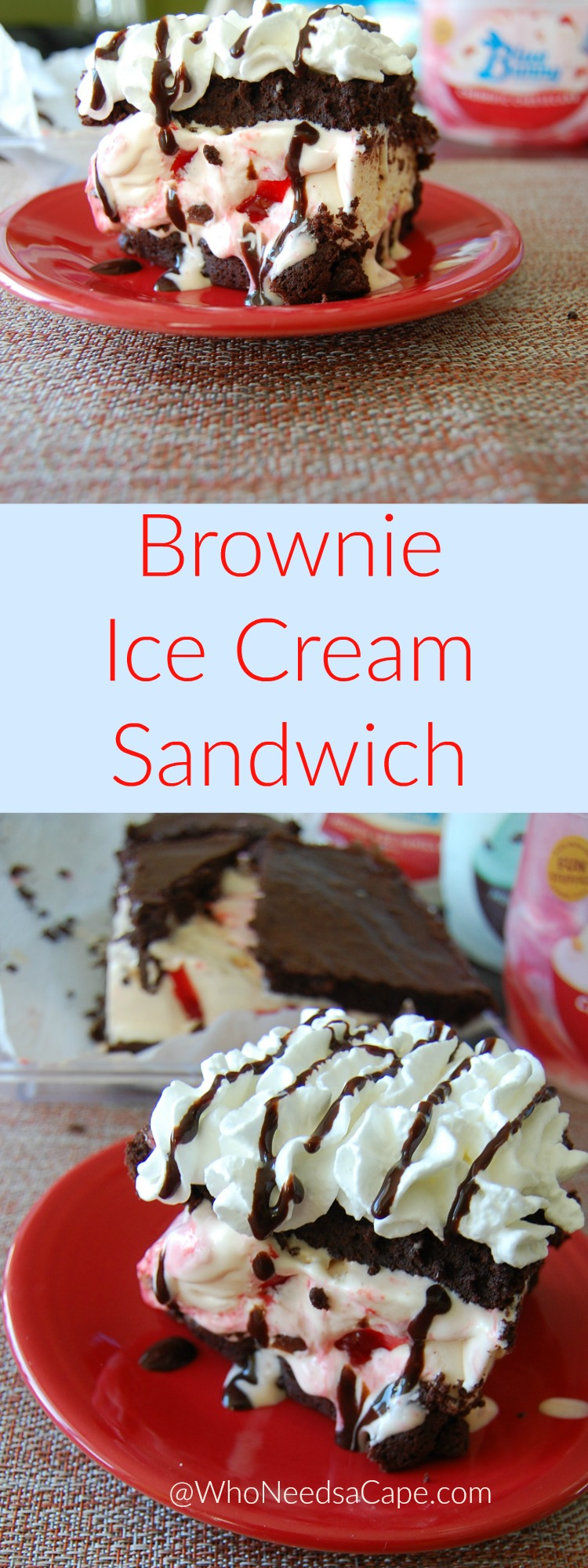 Brownie Ice Cream Sandwiches are a decadent yet oh so simple dessert treat perfect for hot weather enjoyment. Great for chocolate lovers!