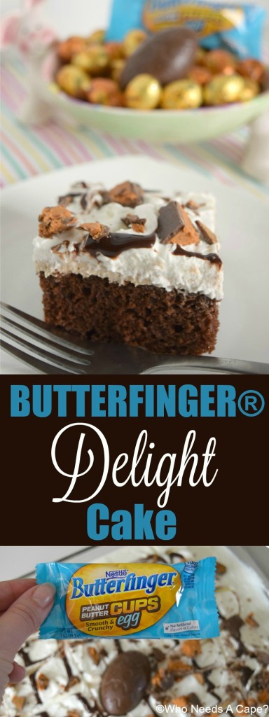 Delicious BUTTERFINGER® Delight Cake with layers of chocolate, peanut butter and whipped cream! Perfect for Easter, a great dessert for parties!