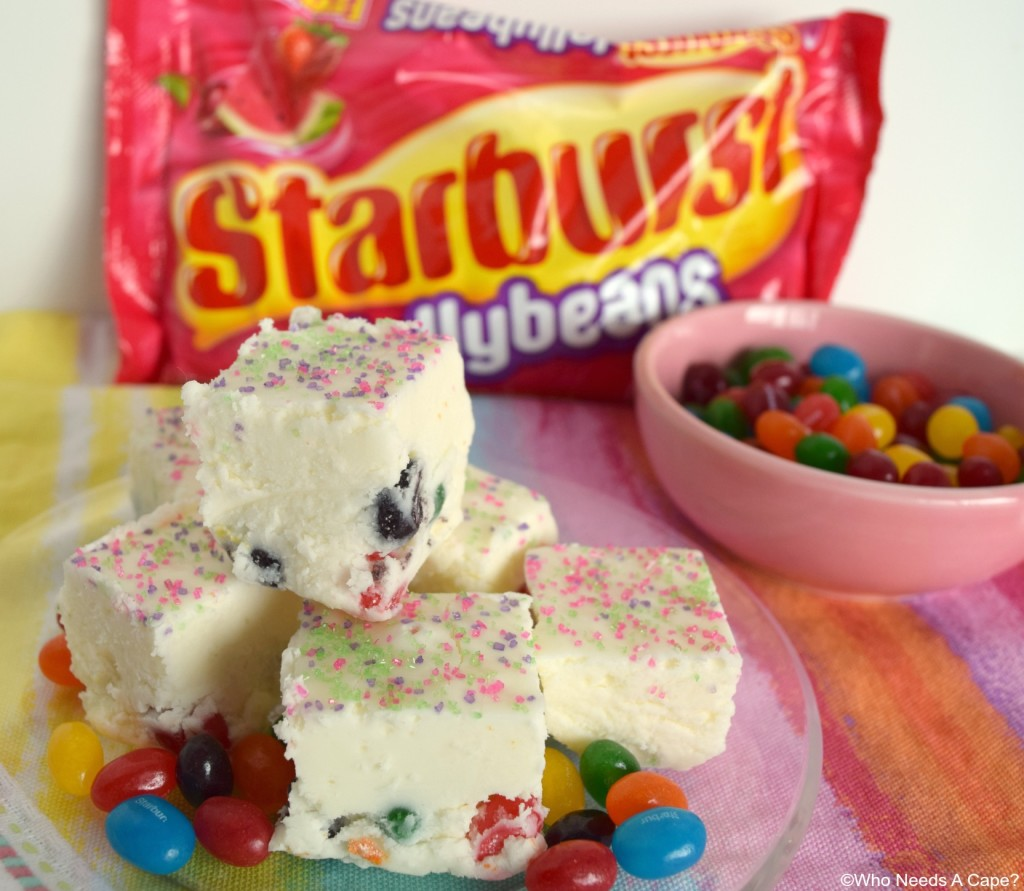 Jellybean Fudge is the perfect treat for Easter! Creamy white fudge loaded with tasty jellybeans! A great dessert with a holiday candy favorite mixed in.