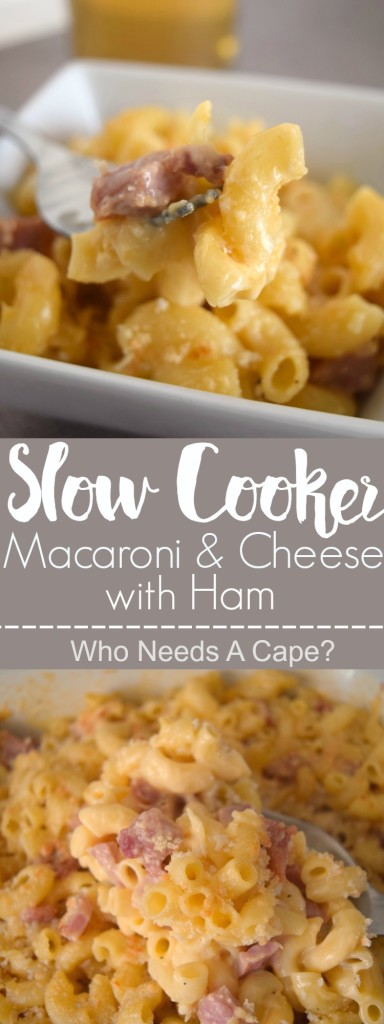 Delicious Slow Cooker Macaroni & Cheese with Ham is great for big crowds, use up leftover ham & put your crockpot to work!