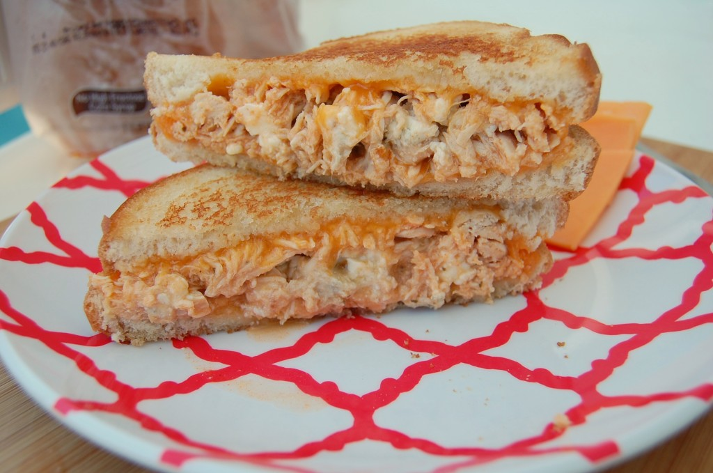 Buffalo Chicken Grilled Cheese is so easy but so good. Make the chicken in your slow cooker and then dinner takes 5 minutes to throw together!
