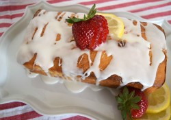 Glazed Strawberry Lemon Yogurt Loaf
