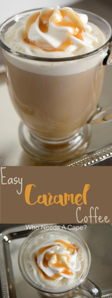If you have a couple of minutes you can prepare this Easy Caramel Coffee! A sweet coffee that's so simple to make, perfect midday treat! | Who Needs A Cape?