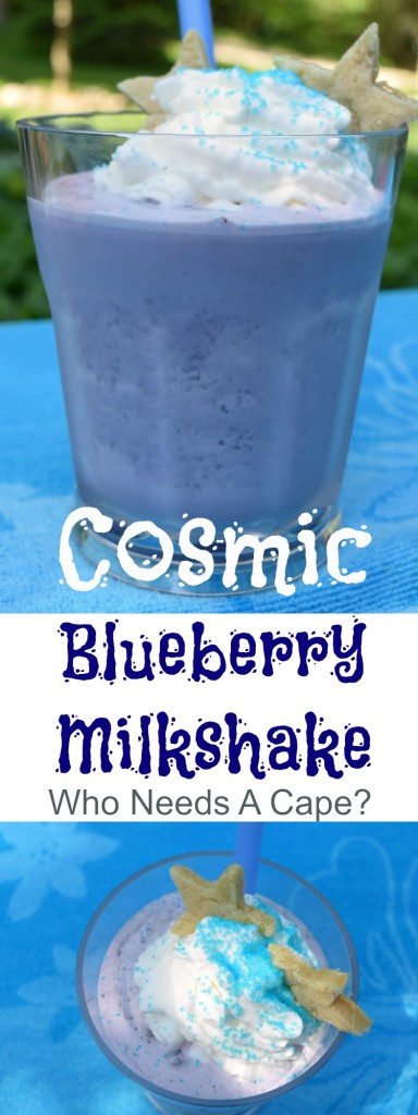 Your kids will go out of this world crazy for a Cosmic Blueberry Milkshake! Loaded with yummy berries and ice cream, this is a summer favorite. | Who Needs A Cape?