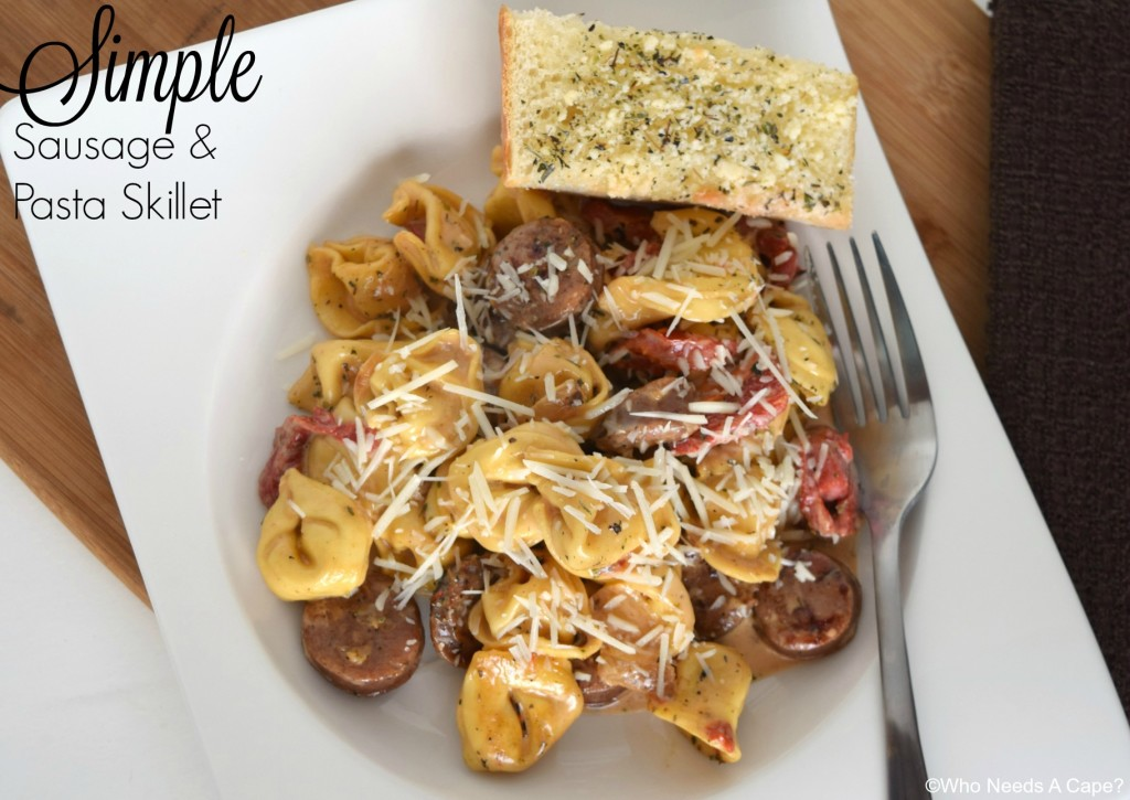 You'll love the flavor combinations in this Simple Sausage & Pasta Skillet meal. Sausage, tortellini, roasted bell peppers all come together beautifully.