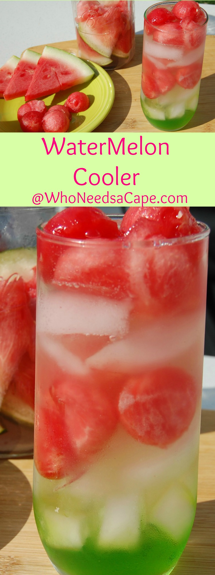 Watermelon Cooler is the most amazing cocktail. Tastes like summer in a glass! Easy but SO impressive! Who Needs A Cape