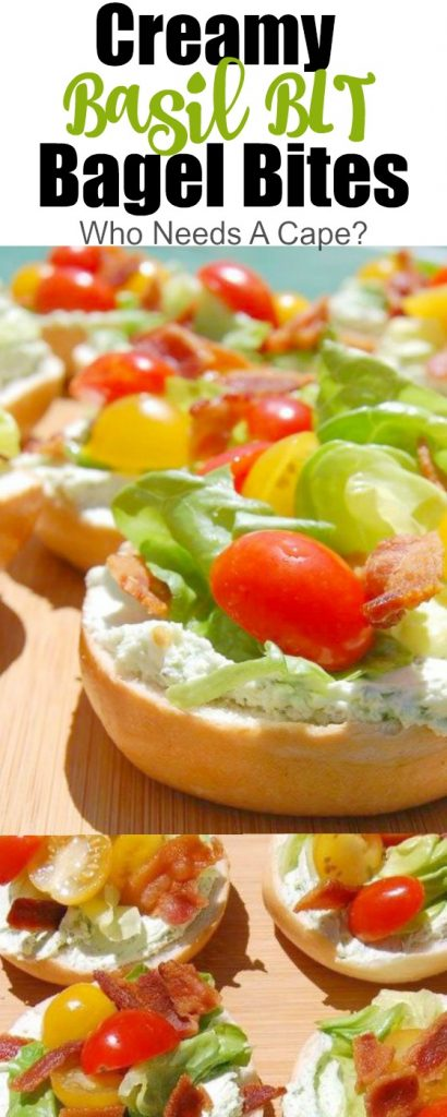 Creamy Basil BLT Bagel Bites make such a delicious appetizer or snack. Great for parties, BBQ's or tailgating, these bite-sized gems are yummy.