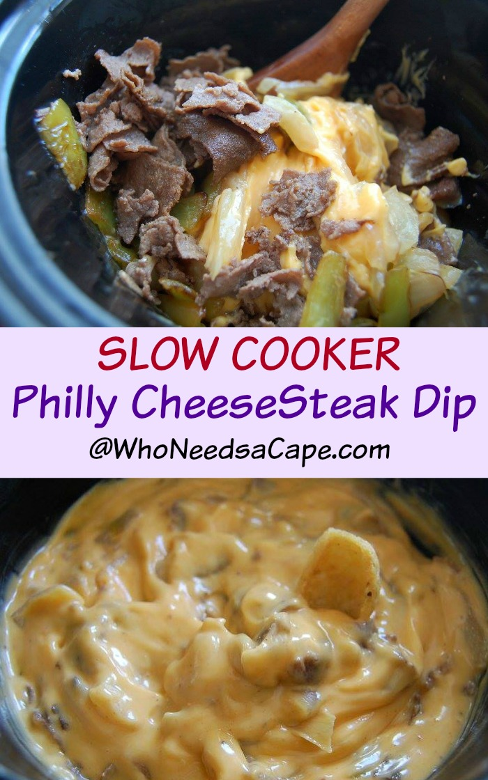 Slow Cooker Philly CheeseSteak Dip is SO good! Perfect for Football, Tailgating, Happy Hour and more! Who Needs a Cape