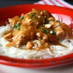 Slow Cooker Pork Satay with Rice Noodles