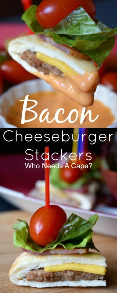 Game day grub doesn't get much easier than these terrific Bacon Cheeseburger Stackers! Ready in under 5 minutes, they are ready to serve in a flash!