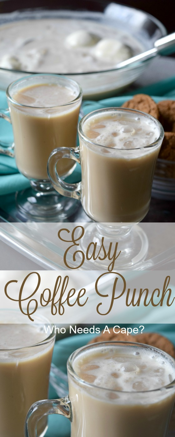 With coffee, creamer and ice cream this Easy Coffee Punch is just like a decadent iced coffee drink! Serve at your next party, your guests will love it.
