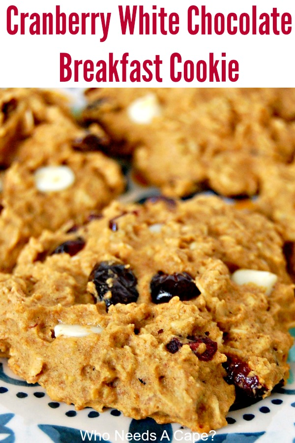 Start your day off with a Cranberry White Chocolate Breakfast Cookie. The perfect breakfast on the go, plus they are easy to make, my kids love them.