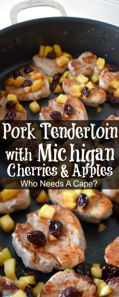 Pork Tenderloin with Michigan Cherries & Apples is a deliciously simple meal that delivers tasty flavors. Pops of fruit and tender pork make a great dinner!