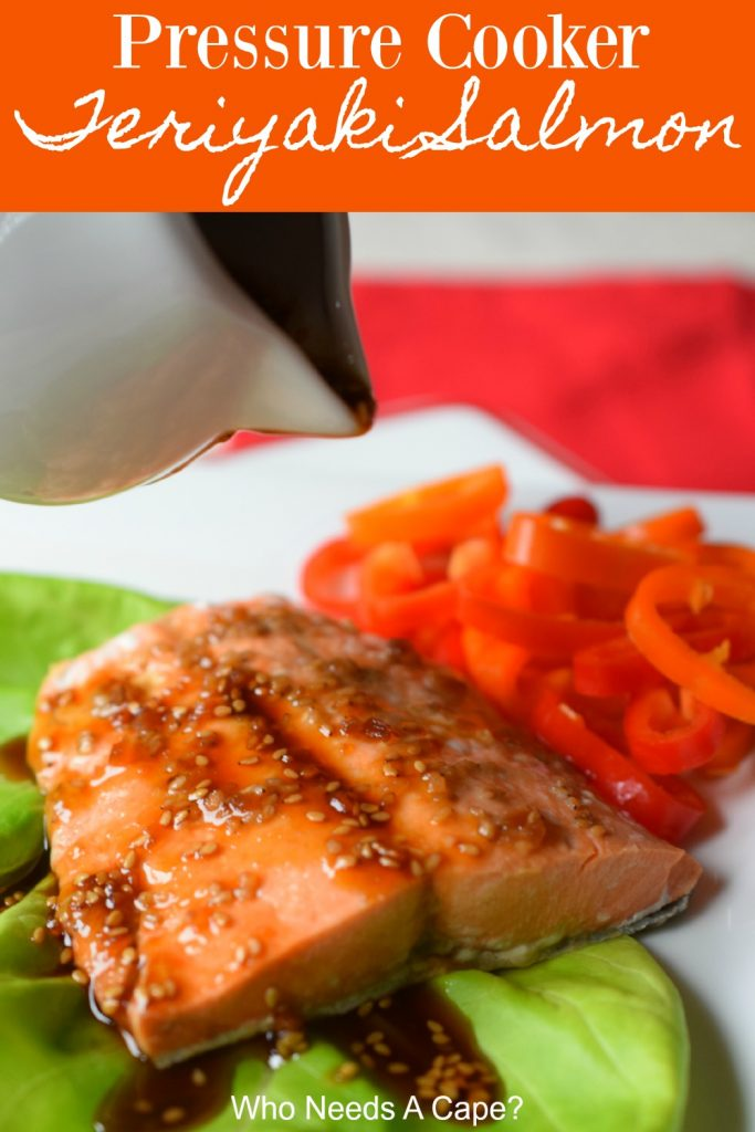 salmon on white plate with green lettuce and sliced bell peppers with red placemat