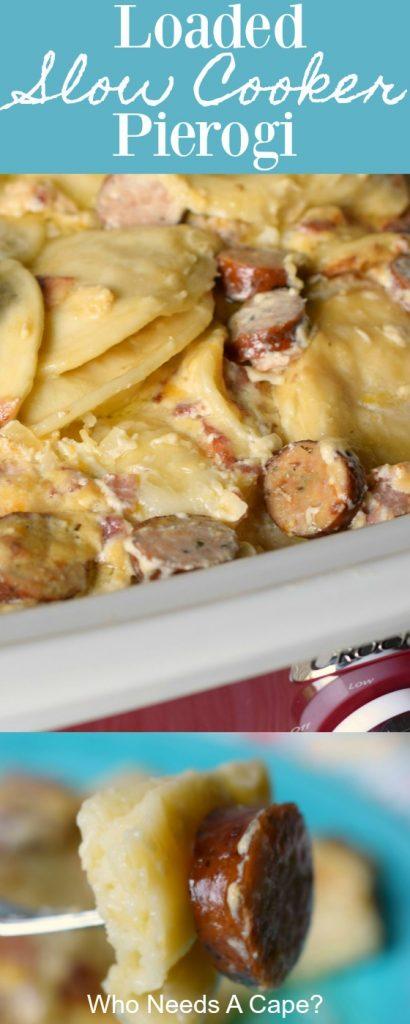 crock pot full of loaded pierogi kielbasa bacon cheese