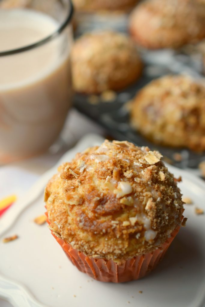 Bake some deliciously simple Streusel Topped Chai Muffins! All the flavors of your favorite drink in this breakfast delight. Simply wonderful!