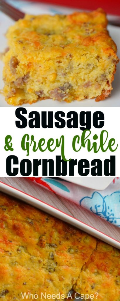 Sausage & Green Chile Cornbread is almost a meal in itself. Perfect for brunch or as part of a holiday meal. You'll love this deliciously easy side dish.