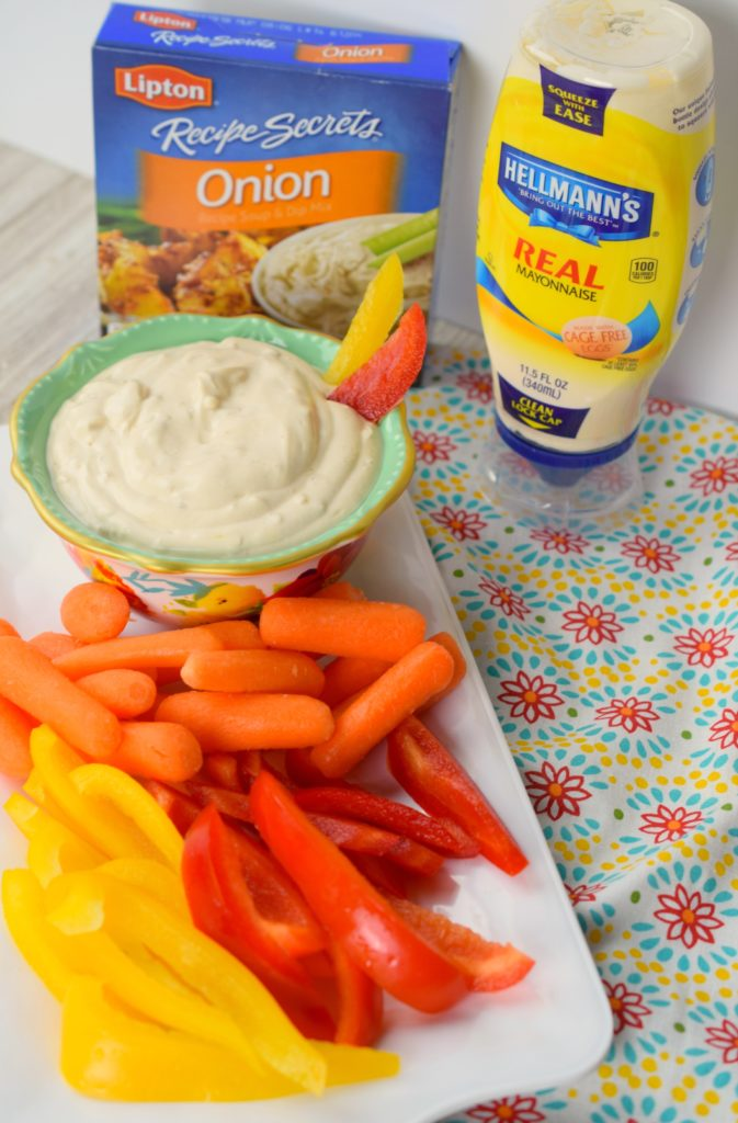 The Easiest Creamy Onion Dip is a favorite for all my entertaining needs. It takes only a minute to stir together using only 3 ingredients! Serve with veggies or crackers, it will surely disappear.
