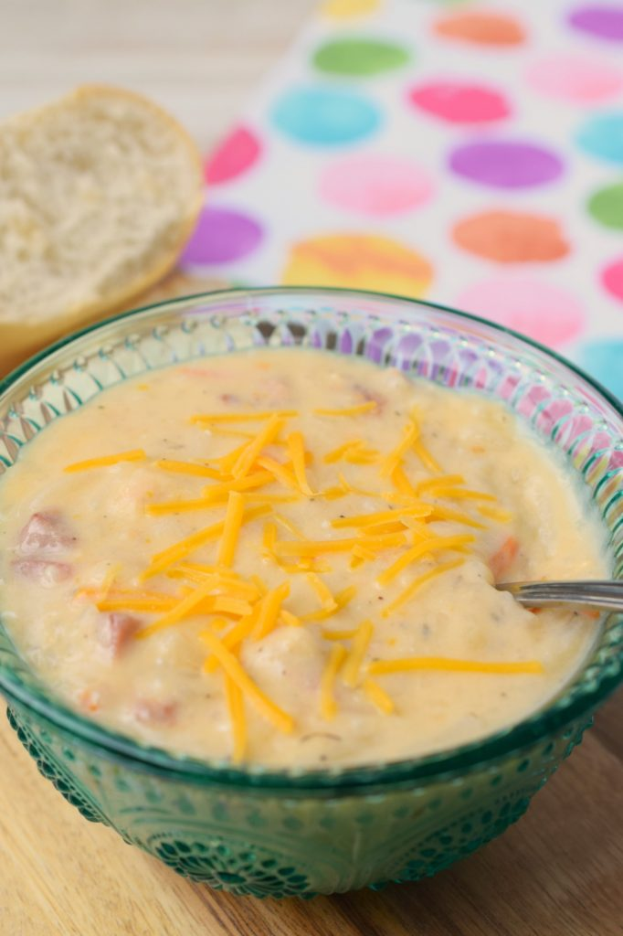 Slow Cooker Leftover Ham & Shredded Potato Soup is the perfect meal to make after holiday dinners. Use up ham with this comforting crockpot dinner.