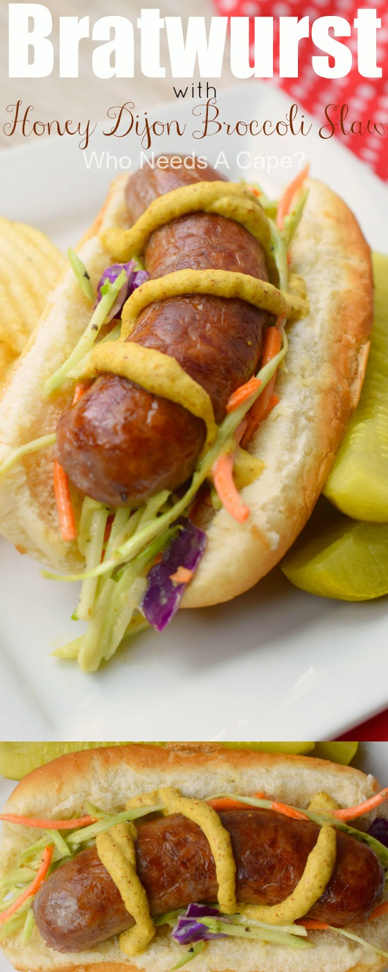 Delicious grilled Bratwurst with Honey Dijon Broccoli Slaw is the perfect summer meal! A sweet and tangy slaw that pairs wonderfully with a grilled brat!