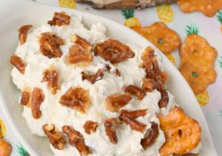 Pineapple Cheesecake Dip with Toffee Pretzel Pieces