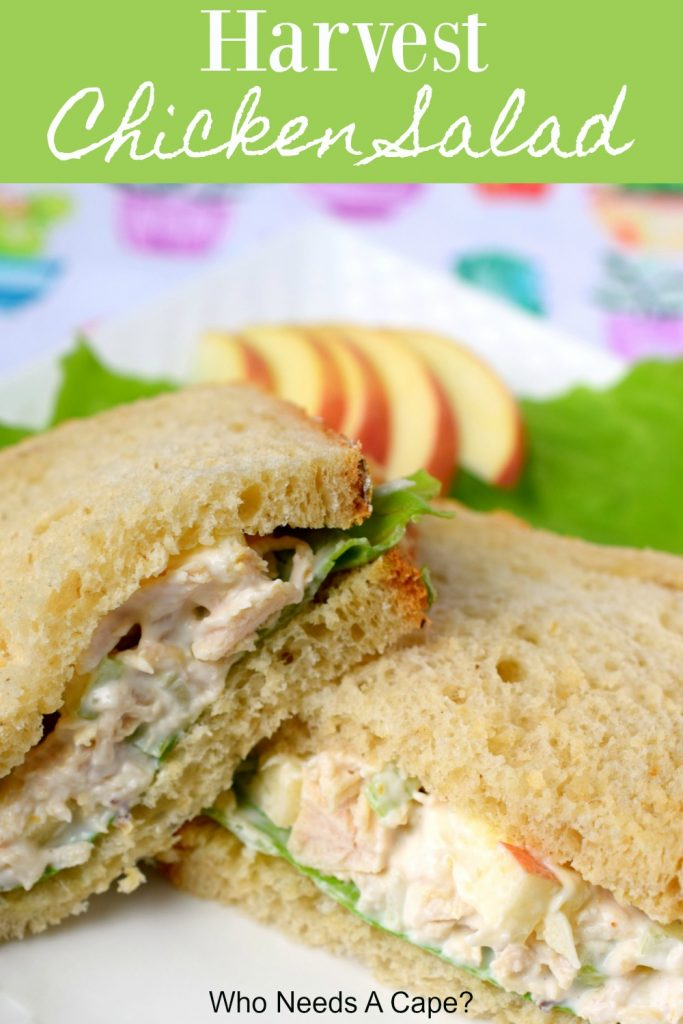 chicken salad with lettuce leaves on bread served on white platter with sliced apples sitting on colorful placemat