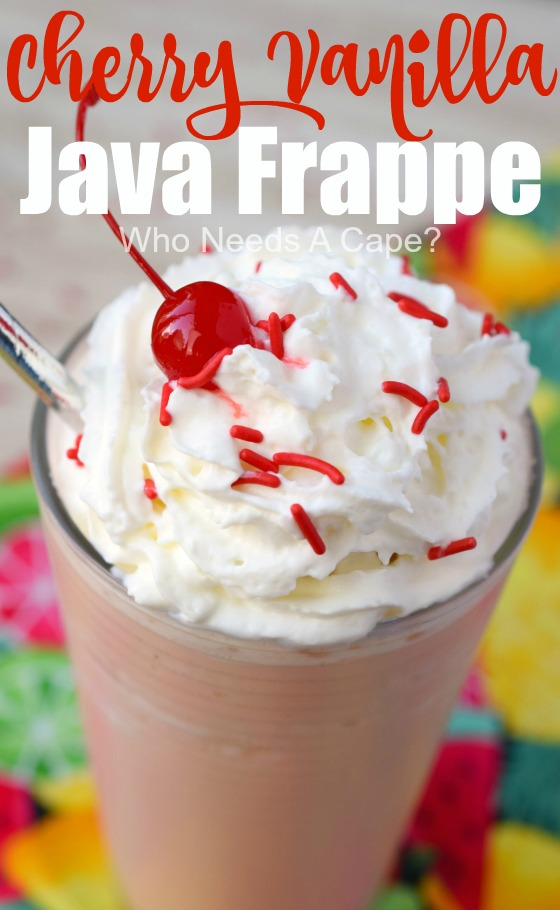 Make yourself a delicious Cherry Vanilla Java Frappe! This cold beverage is the perfect way to enjoy a coffee drink and just perfect for summer sipping.