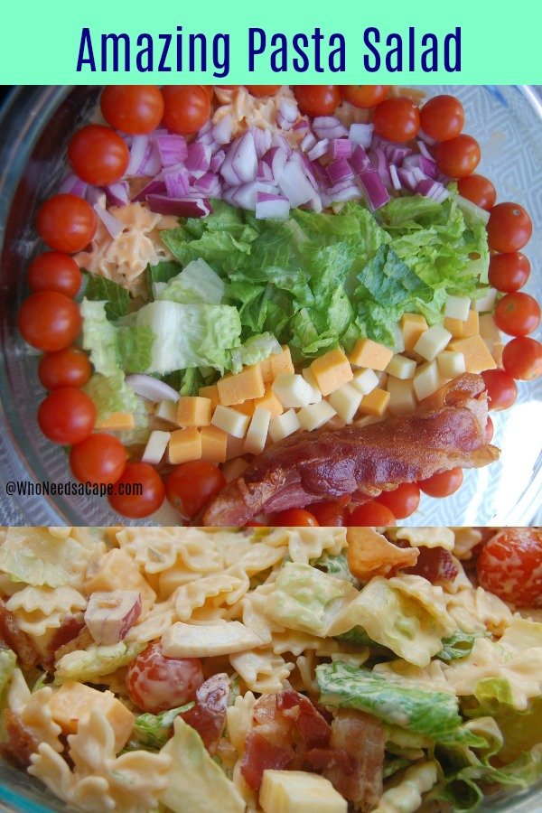 Amazing Pasta Salad is just that - Amazing! Filled with Pasta, Tomatoes, Bacon, and Cheese - you're going to make this again and again!