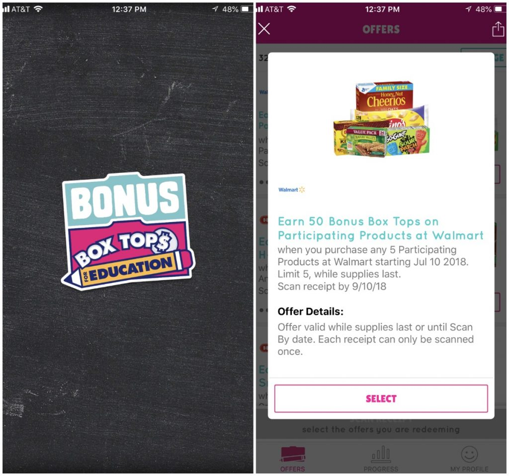 Help your school Earn 50 Extra Bonus Box Tops with the Box Tops Bonus App. Buy 5 participating items at Walmart, scan and earn on the app.